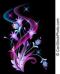 encendido, plano de fondo, con, flores, y, estrellas