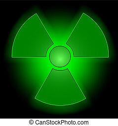 encendido, radioactivo, símbolo