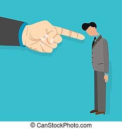 encendido, señalar, conseguir, ilustración, jefe, culpa, vector, dedo, empleado, culpar, caricatura