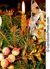 encendido, vela, navidad