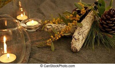 encens, dire, fortune, cérémonie, rituels, relaxation, crosse, guérison, yoga, ésotérique, aromatherapy., ou, blanc, séché, smudging, occulte, psychique, aura, tache, sauge, essentiel, herbier, cleaning., pendant