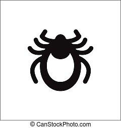 Encephalitis tick icon vector. Mite sign isolated on white background. Flat design. Vector illustration