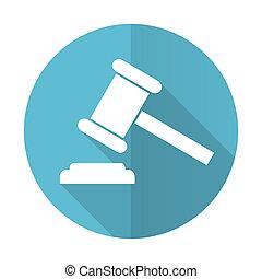 enchère, bleu, plat, icône, tribunal, signe, verdict, symbole