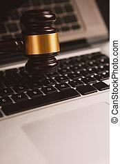 enchère, concept., clavier, juge, informatique, ligne, marteau, ou