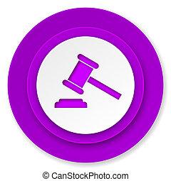 enchère, icône, violet, bouton, tribunal, signe, verdict, symbole