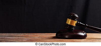 enchère, juge, bureau, marteau, bois, ou