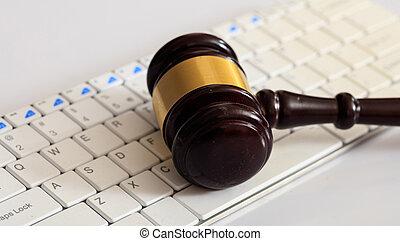 enchère, juge, clavier ordinateur, marteau, ou