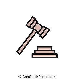 enchère, juge, ou, plat, marteau, icon., tribunal, couleur, marteau