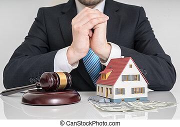 enchère, maison, concept., model., avocat, marteau