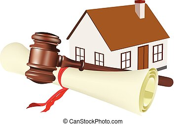 enchère, maison, papier, contrat, roulé