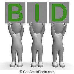 enchère, offre, vendre enchères, bannières, bidder, spectacles