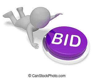 enchère, offre, vendre enchères, bidder, bouton, spectacles