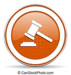 enchère, orange, icône, tribunal, signe, verdict, symbole