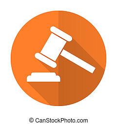 enchère, orange, plat, icône, tribunal, signe, verdict, symbole