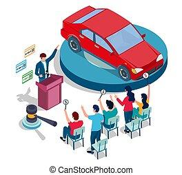 enchère, toile, voiture, enchère, site web, concept,...