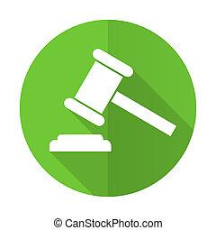 enchère, vert, plat, icône, tribunal, signe, verdict,...