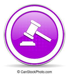 enchère, violet, icône, tribunal, signe, verdict, symbole
