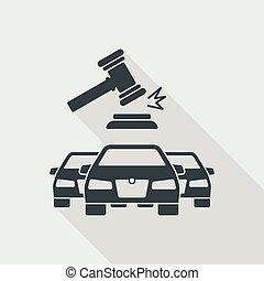 enchère, voiture, concept, icône