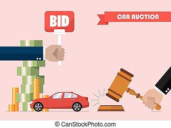 enchère, voiture, vente, achat