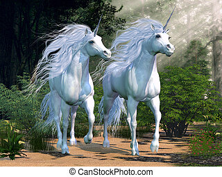 Enchanted Forest - Two buck unicorns run together through a...