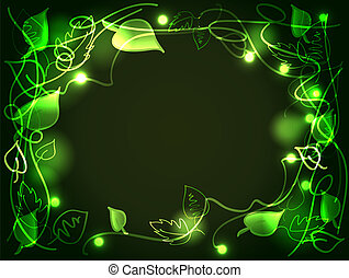Fun hand drawn leaves and vines of an enchanted forest filled with glowing lights, perfect mystical green background with copy space.