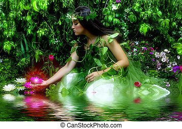 Enchanted Garden - Enchanted garden and the fairy (night...