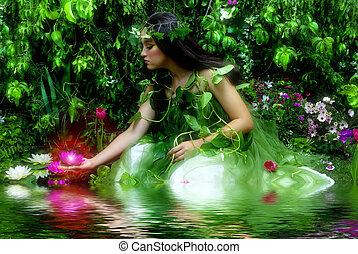 Enchanted Garden - Enchanted garden and the fairy (night...