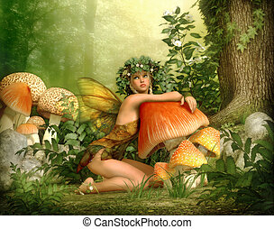 Enchanted Wood, 3d CG - 3d computer graphics of a fairy with...