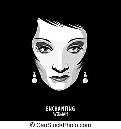 Enchanting woman - Black and white full-face isolated...