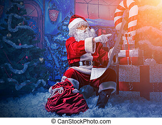 enchantment - Santa Claus posing with a list of presents...