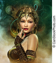 Enchantress - a portrait of a lady with a golden headdress