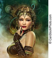 Enchantress - a portrait of a lady with a golden headdress