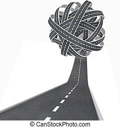 enchevêtré, balle, routes, -, congestion, et, confusion, dans, voyage