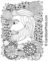enchevêtrement, vecteur, portrait, homme, griffonnage, zen, floral, illustration, noir, tension, anti, adults., coloration, ornament., white., frame., livre