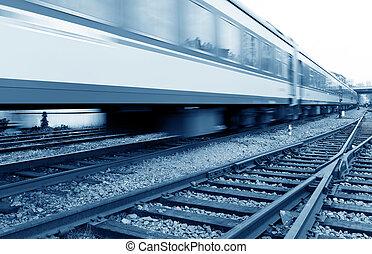 enchido, com, bens, trem, alta velocidade, driving.