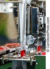 enchimento, máquina, vermelho, água, para, a, exemplo, saco