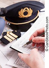 enchimento, plano vôo, piloto avião