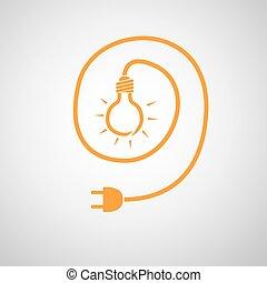 enchufe, alambre, illustration., luz, -, vector, bombilla