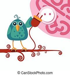 enchufe, concepto, enchufe, sentado, conexión, salida, rama, asimiento, pájaro