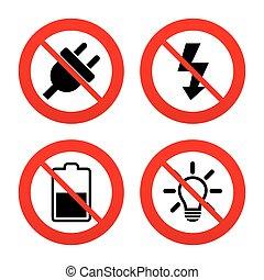enchufe, eléctrico, batería, luz, signo., lámpara, half.