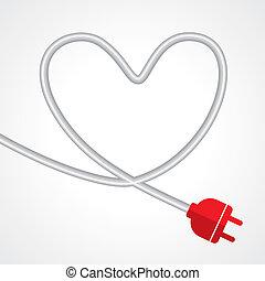 enchufe eléctrico, en, el, forma, de, corazón