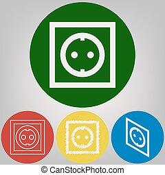 enchufe eléctrico, signo., vector., 4, blanco, estilos, de, icono, en, 4, coloreado, círculos, en, gris ligero, fondo.