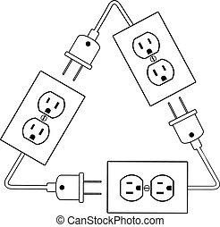 enchufe, energía eléctrica, salidas, eléctrico, reciclar, ...