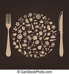 enchufe, forma, restaurante, iconos, esfera, cuchillo