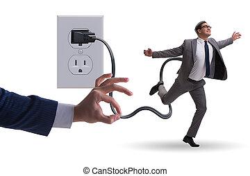 enchufe, hombre de negocios, ser, accionado, electricidad
