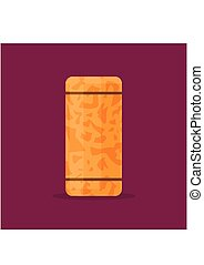 enchufe, marrón, plano, de madera, aislado, corcho, fondo., vector, vino, illustrtaion, style., icono