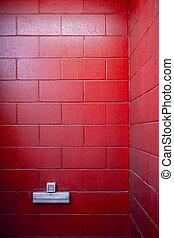 enchufe, muy, fondos, pintado, pared, ladrillo, rojo