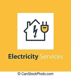 enchufe, reparación, electricidad, casa, alto voltaje, ...
