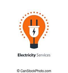 enchufe, reparación, electricidad, luz, mantenimiento, ...