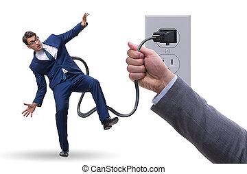 enchufe, ser, accionado, electricidad, hombre de negocios